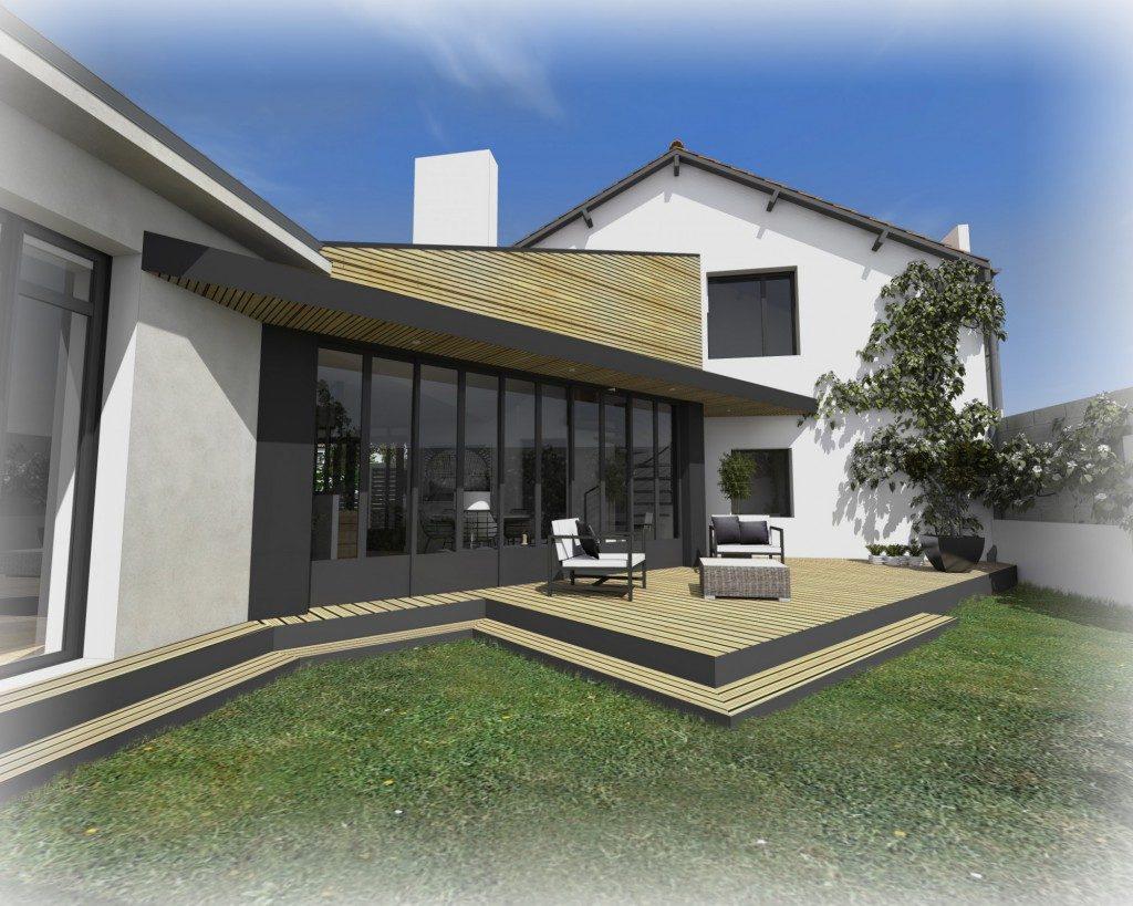 R novation et extension d une maison clisson par for Extension maison 3 murs