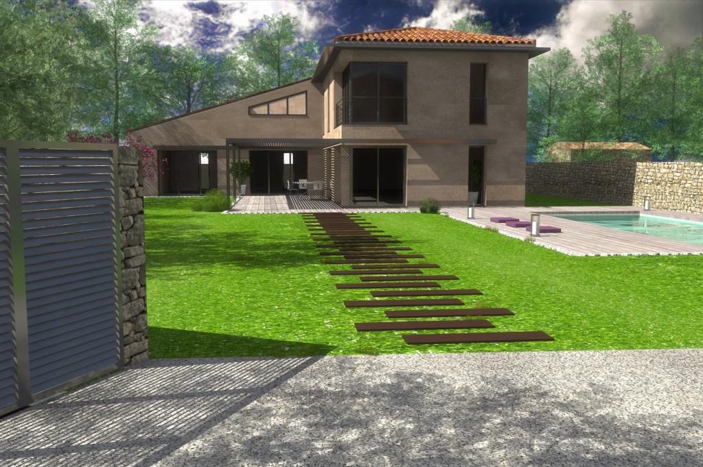 Cr ation d une villa contemporaine proven ale en sit for Maison contemporaine provencale