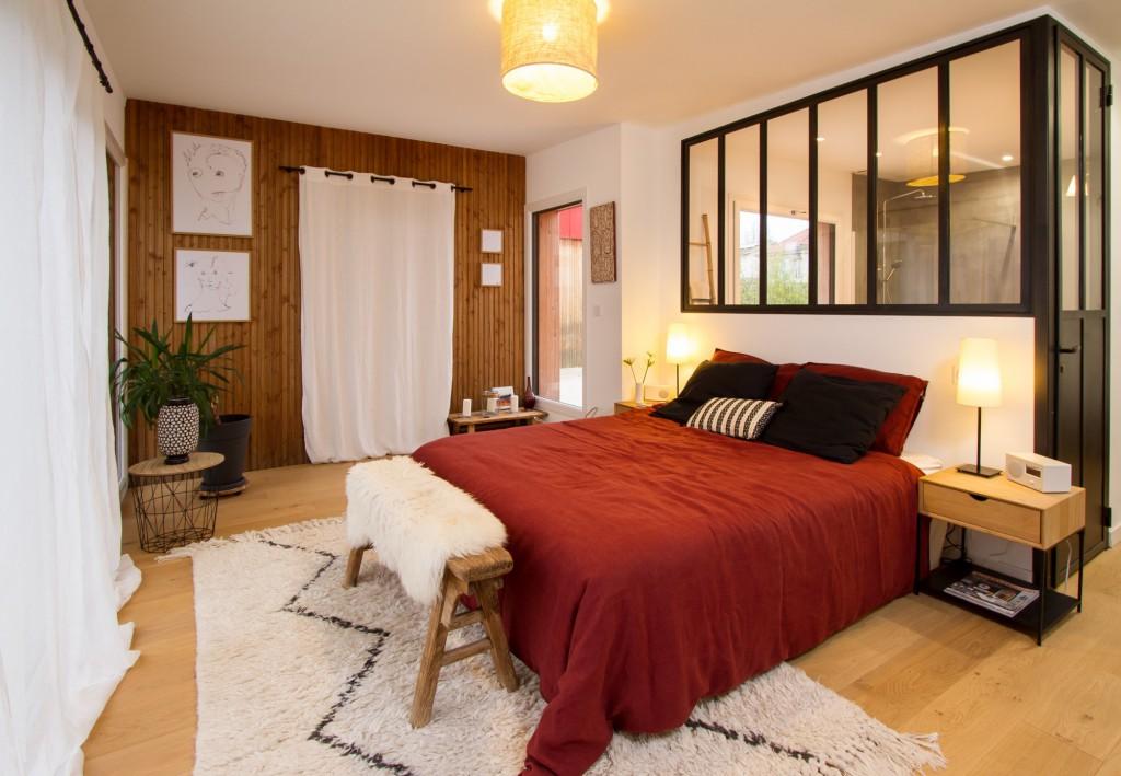 Maison d architecte en bois espace parental par for Interieur de la terre