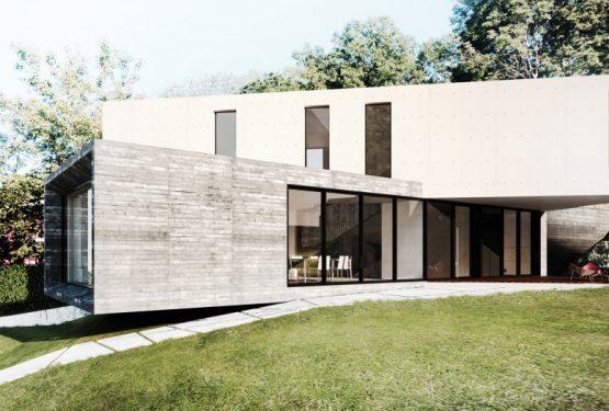 MAISON EN BETON ET VERRE – BETON BANCHE AVEC PLANCHETTES – RT 2012, par SKP architecture