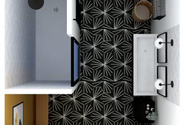 Création d'un salle de bain style industriel à la côte saint André, par Raphaëlle décore pour vous