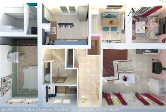 Etude aménagement intérieur, par A/S Architecture Intérieure