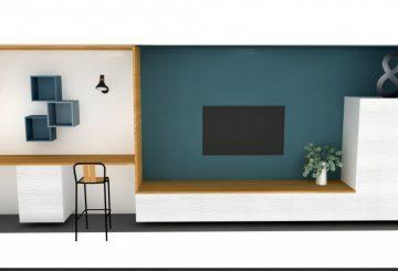 Meuble sur mesure coin salon et bureau, par Raphaëlle décore pour vous